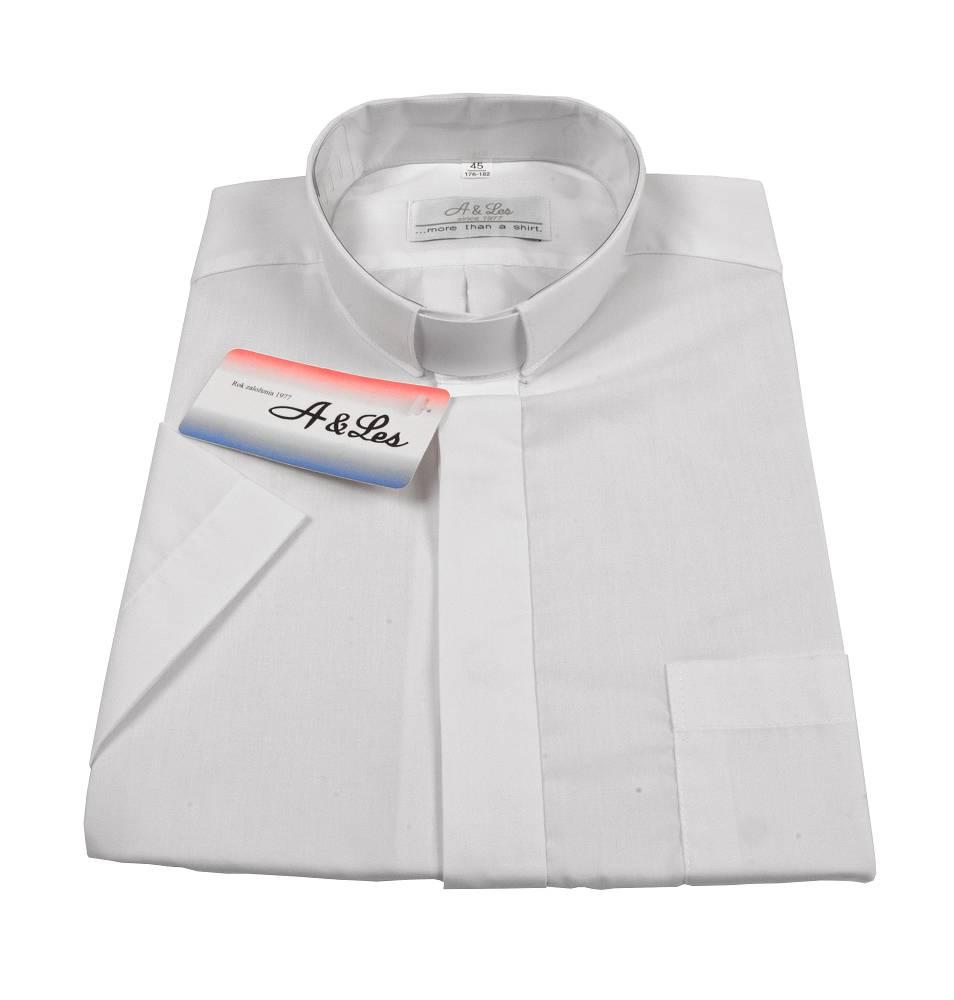 A&Les Koszula kapłańska z długim rękawem A&LES biała  p1RgK