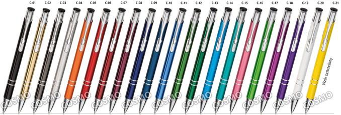 Długopisy COSMO - kolorystyka